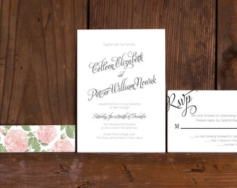 Calligraphy Love Wedding Invitation Template, Modern Calligraphy Wedding Invites,Digital Download,Floral and Calligraphy Wedding Invitations