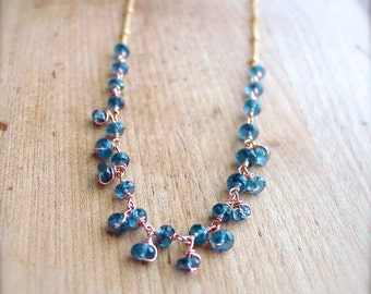 Kyanite Rose Gold Wrapped Necklace on Yellow Gold Filled Chain