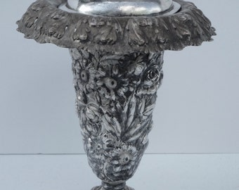 Silverplate Repoussé Vase Or Urn w/ Lid Silver On Copper By Barbour Ornate Florals Floor Vase