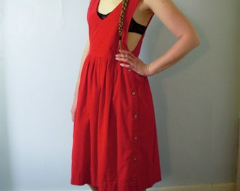 Vintage 90's red corduroy dress, midi dress, corduroy jumper with full skirt / pleats / pleated skirt, size 12