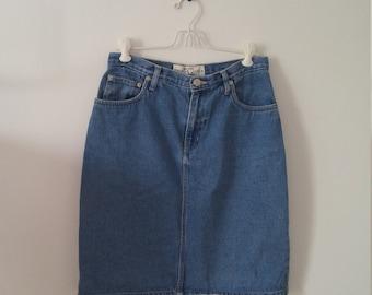 80s 90s high waisted denim pencil skirt sz 8