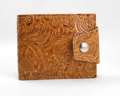 Hand Tooled Western Wallet- Made of Boutique Upholstery Vinyl, Vegan