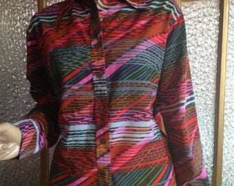 Large Womens 70s Button Down Shirt