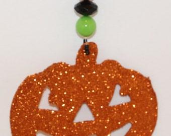 Glittered Pumpkin Halloween Tablecloth Weights Set of 4