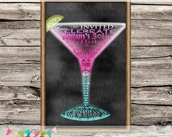 Menu Board Cocktail Invitation - Feminine Invitation - Bachelorette - Bridal Shower - Hens Night - Cocktail Night - Printable