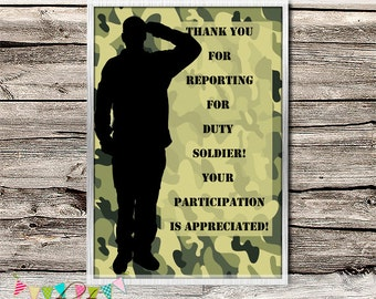 Camo / Army / Military / Laser Tag / Paintball Invitation / Thank You Note - DIY - Digital File - Printable - Customised - INSTANT DOWNLOAD