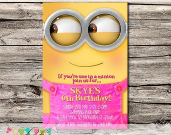 Minion Girls Invitation - Birthday Party or Baby Shower Invitation - Photo Invite - Printable - DIY - Digital File