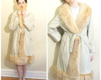 Vintage 1970s Leather and Fur Princess Coat / 70s Beige Leather Coat with Golden Possum Fur Collar / Large