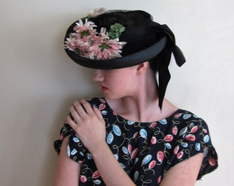 Vintage 1940s Straw and Flowers Wide Brimmed Hat / 40s New York Creations Navy Blue and Pink Open Crown Hat with Ribbon Bow