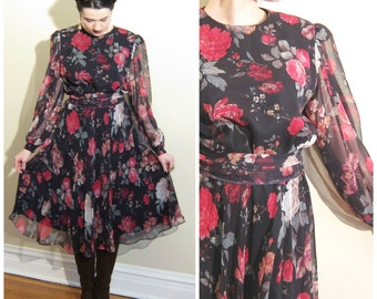 Vintage 1980s Floral Print Dress / 80s Black and Red Dress with Sheer Sleeves / Medium