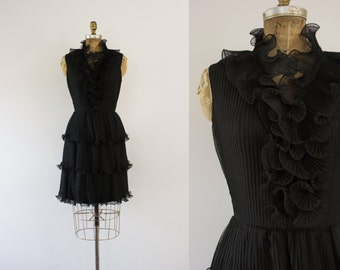 1960s Glam Squad ruffled black party dress / 60s mod