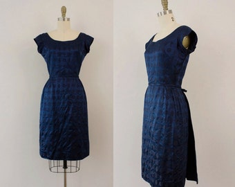 1950s Royal Blues brocade floral party dress / 50s bombshell