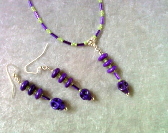 Purple and Lime Green Skull Necklace and Earrings (0945)
