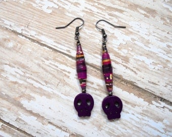 Dark Violet Skull Earrings (2287)