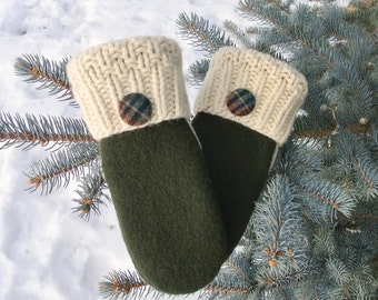100% Felted Wool Green & Ivory Thick Women's Recycled Sweater Mittens