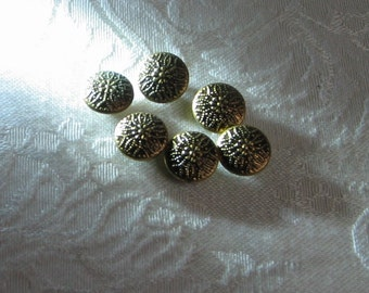 "Vintage Brass Tone Shank Buttons 7/16"" Set of 6, Embossed Metal Snowflake Flower Bohemian Floral Design"