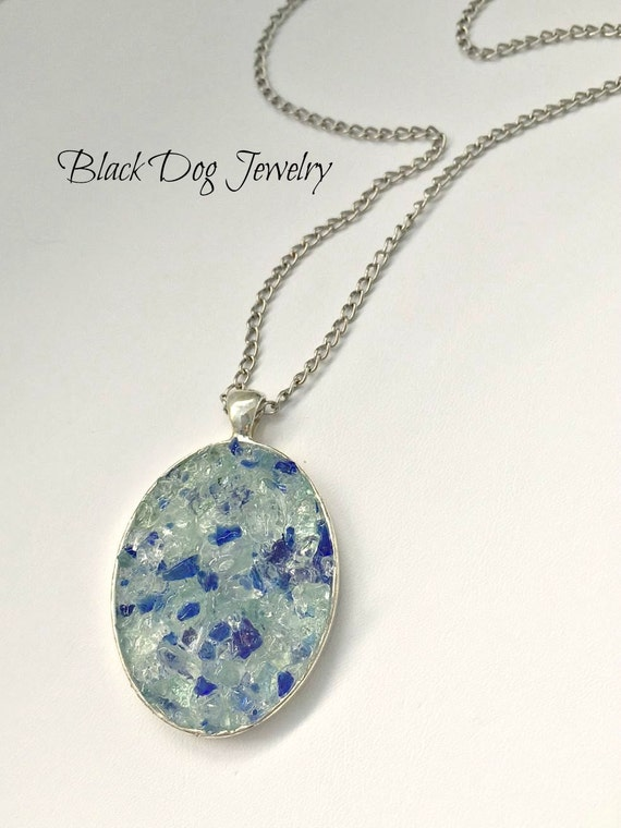 Blue sea glass druzy inspired necklace sea by for Sell gold jewelry seattle
