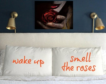 Wake up and smell the Roses Pillow Case Wedding Perfect Gift Couple  *Free shipping*