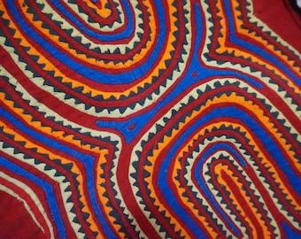 STOREWIDE CLEAROUT SALE kuna mola sample square folk art muni vintage 70s 1970s textile reverse appliqué