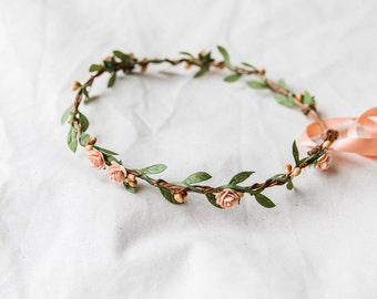 peachy orange and green flower hair wreath // bridal wedding flower crown headband rustic forest garden spring woodland headpiece