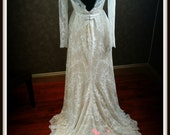 Nude and Ivory Lace Stretch Wedding Dress with Long Sleeves
