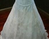 Nude and Ivory Stretch Wedding Dress Sweetheart Neckline Corset Bodice