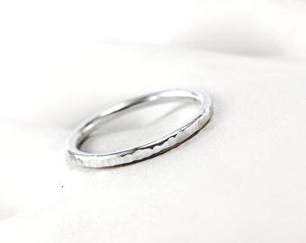 Hammer Textured Simple Ring Band - Sterling Silver, 14k Palladium White Yellow Rose Gold Platinum - Stacker Ring, Wedding Band, Promise Ring