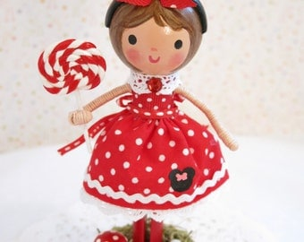 Available and Ready to Ship Minnie Mouse Cake Topper~ Red & White Polka Dots~ Birthday Party Decoration~ Lollipop~ Garden~Mouse Ears~Twins