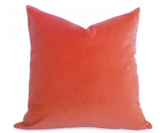 Coral Velvet Pillow Cover - Coral - Orange - 20 inch - Coral Pillow - Velvet Pillow - Orange Pillow - Decorative Pillow - Designer Pillow