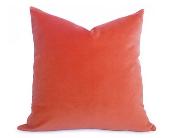 Coral Velvet Pillow Cover - Coral - Orange - MORE SIZES - Made to Order - Coral Pillow - Velvet Pillow - Orange Pillow - Decorative Pillow