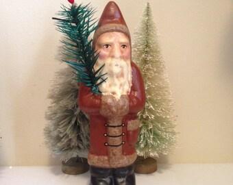 Folk Art Chalkware Belsnickle Santa from Chocolate Mold Brown Coat