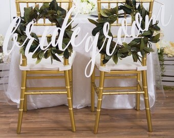Bride and Groom Chair Signs for Wedding, Hanging Chair Sign Wooden Wedding Signs Bride & Groom Large Calligraphy Chair Signs (Item - BGL100)