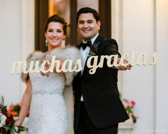 Muchas Gracias Sign Spanish Thank You Sign for Wedding - Thank You Card Wedding Sign Photo Prop in Custom Colors (Item - MGR100)