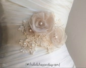 Lace Detailed Sash with Handsewn Pearl Accents - One of a Kind Bridal Sash