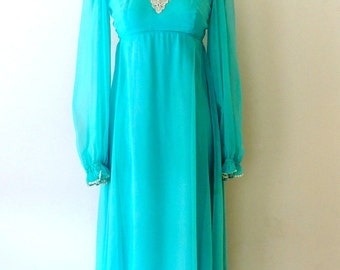 vintage Sylvia Ann dress - 1960s aqua chiffon long evening gown dress w/ lace detail