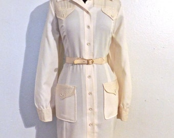 SALE vintage gingham shirtdress - 1960s Herman Marcus white/taupe belted dress