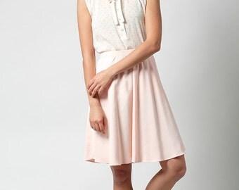 SALE,Short skirt, blush pink skirt, Womens skirt, High waist skirt, A line skirt, Classic skirt, Short skirt, Day skirt, full skirt