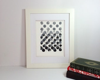 Black and Grey minimal linocut art 9x12 limited edition