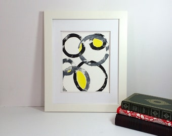 Yellow, gray and black modern abstract monoprint 9x12 handprinted