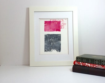 Pink andGrey Spring abstract linocut art 9x12 limited edition