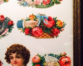 Embossed Victorian Die Cut Stickers Framed Doves Roses Romantic Vintage