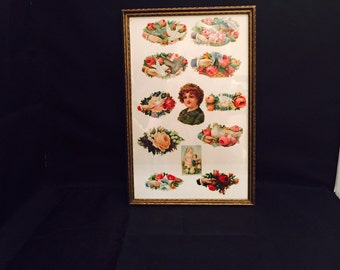 Die Cut Embossed Victorian Stickers,  Framed,  Doves Roses Romantic Vintage, ON SALE