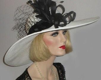 ROYAL DERBY SPECTATOR- Black & White Extra Wide Brim Derby Hat, White Kentucky Derby Hat, Garden Tea Party Hat, Couture White Picture Hat