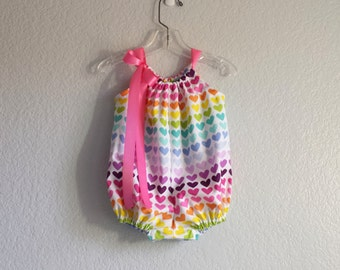 Baby Girls Bubble Romper -  Colorful Hearts on White - Infant Sun Suit - A Rainbow of Colors - Size Nb, 3m, 6m, 9m, 12m or 18m