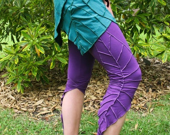 Textured Leaf Leggings - 3/4 Length - Forest Fairy - Pixie Leggings - Elf Leaf - Fairy Leggings - Forest Leggings - Organic Cotton Fabric