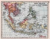 East Indies map with Siam, Malaya, Philippines, Borneo, Sumatra, 1930s vintage map