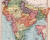 1930s India map with Calcutta, Ceylon and lower Burma, antique India map