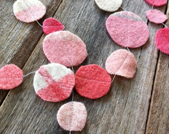 pink bubblegum wool circle garland upcycled from vintage wool blanket offcuts, handmade one of a kind