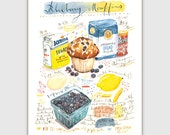 Blueberry muffin recipe print, Illustrated recipe painting, Watercolor muffin poster, Kitchen wall art, Food print, 8X10 print, Bakery print