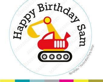 Construction Labels, construction birthday stickers , Construction Birthday Party Favors, PRINTED round Stickers, tags, Envelope Seals A1255